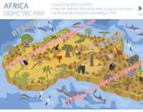 Africa isometric flora & fauna map
