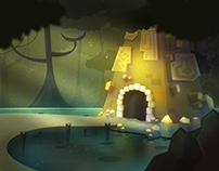 Ancient Temple - Scenery Illustration
