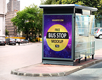 Free Bus Stop Mockup PSD
