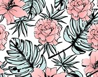 floral rosa e verde