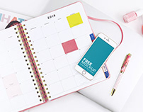 iPhone Mockup With A Fancy Calendar On A Table