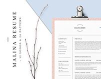MALINA Resume – 3 Pages + 12 Logos + 20 Patterns