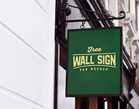 Free Wall Mounted Shop Sign Mockup PSD