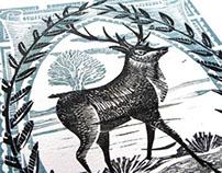 Stag Lino Cut Print