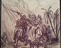 The Ambush by Pallominy. A group of Moors attack a brav