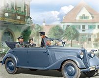 German military in the car