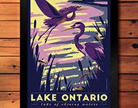 Lake Ontario- Lake of Shining Waters Travel Poster