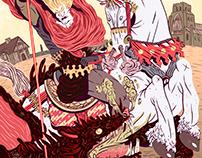 Saint George/ San Jorge killing the dragon