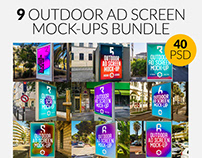 9 Metro Underground Ad Screen Mock-Ups Bundle