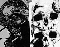 Raven and skulls