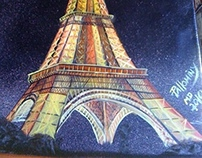 Eiffel Tower paintings by Pallominy Paris France 2010