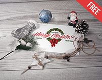Postcard in Christmas Scenery - Free PSD Mockup