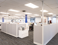 Emerson's new work stations, kitchen, and boardroom