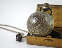 """Art Deco Watch """"Weaver Orb"""" Watch Necklace"""