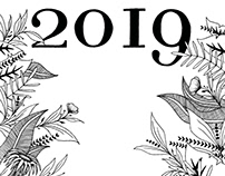 Calendar 2019 - Ink drawing illustrations
