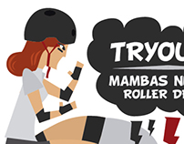 Flyers para Mambas Negras Roller Derby.