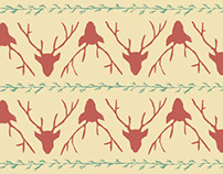Deer & sprigs pattern wrapping paper