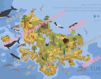 Europe isometric flora & fauna map