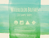 130 Simple Shapes Watercolor Brushes + Wallpaper