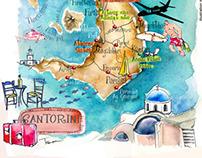 Santorini isl art map in Aegean sea