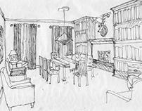 Private Club - Library / Bar Design & Des. Dev. Dwgs.