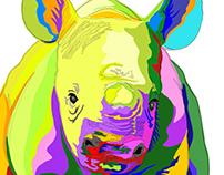 Rhino calf with a splash of color