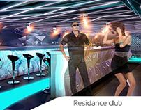 Interior design of Residance club