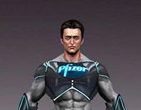pfizer indian superhero concept art