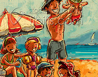 Cartoon family, vacations at the beach