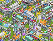 Rush hour gridlock (isometric vector illustration)