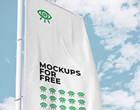 Vectical Flag Mockup / Free PSD