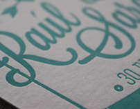 letterpress wedding postcard