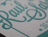 letterpress wedding postcard