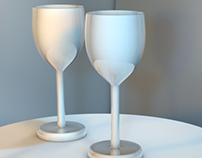 2 Cups On a Table Using Cinema 4D