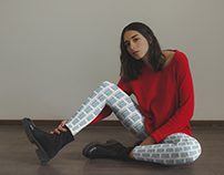Mockup of a Girl Wearing Leggings and a Red Sweater