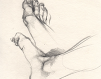 The studies of my foot, pencil drawing