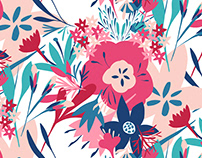 Bold pink and blue stylised floral
