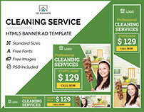 Cleaning Service Banner- HTML5 Ad Templates