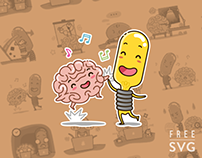 FREE IDEA AND BRAIN STICKER SET