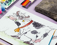 Crazy cow - character design with watercolour!