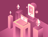 Bitcoin Ethereum Illustration Isometric