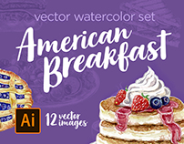 American Breakfast. Vector Watercolor Set