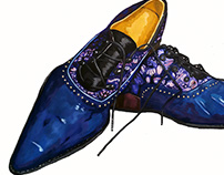John Fluevog shoe painting illustration.