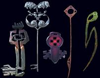 3D models of moderate stylized fantasy keys