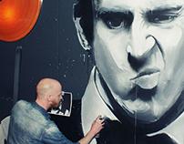 Ronny O'Sullivan mural at poolclub Plan B, Amsterdam