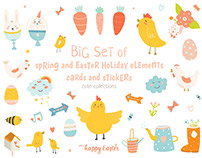 Cute Spring and Easter holiday set