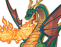 Dragon breathing fire vector illustration