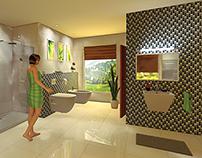 Modern bathroom with mosaic wall - 3D render