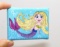 Custom order - tiny blonde mermaid painting with easel