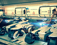 Scifi Hangar Interior 3D Model